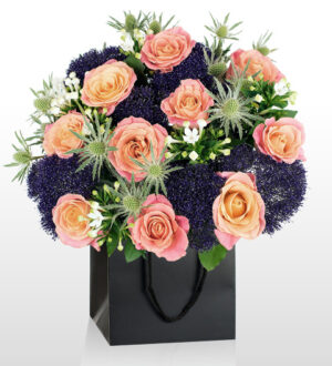 Turner Bouquet - National Gallery Flowers - National Gallery Bouquets - Luxury Flowers - Peach Roses - Anniversary Flowers